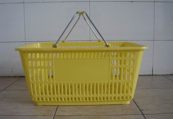 Supermarket Plastic Baskets With Handles / Stackable Shopping Baskets