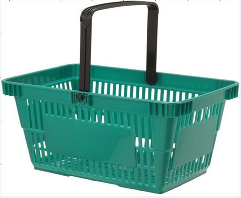 Green Portable Plastic Grocery Hand Baskets Singal Handle European Style