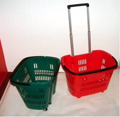 China Colorful Shopping Hand Baskets With Wheels supplier