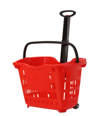 Green Supermarket 2 Wheeled Shopping Trolley Grocery Store Cart Customized