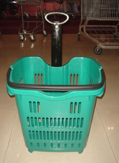 Movable Supermarket Shopping Trolley On Wheels Aluminum Alloy Pull Rod