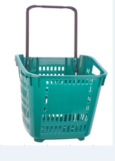 Large Capacity Shopping Basket With Wheels Plastic Rolling Cart With Handle