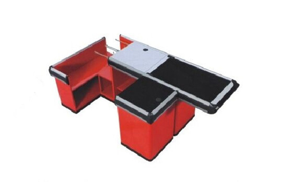 Red Metallic Supermarket Cash Register With Conveyor Belt Durable Recyclable