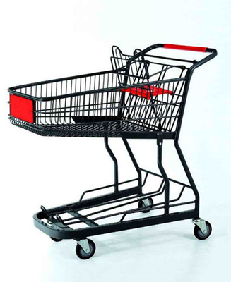 Powder Coated Shopping Basket Trolley Metal Wire Grocery Cart With Casters