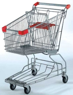 Custom Rolling Shopping Basket Wire Cart On Wheels Metal Frame Asia Style