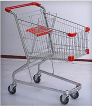 PU Wheeled Grocery Shopping Trolley Powder Plated Climb Stairs Hand Cart