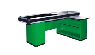China Custom Metal Supermarket Checkout Counter With Conveyor Belt Cash Register supplier