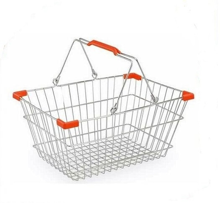 Wire Mesh Shop Hand Shopping Basket Chrome Plating , Stackable Shopping Baskets