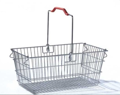 Single Handle Stainless Steel Shopping Baskets Rust Preventing Custom