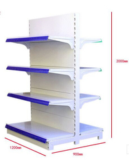 Gondola Middle Duty Supermarket Display Shelving Double Sided Metal Rack