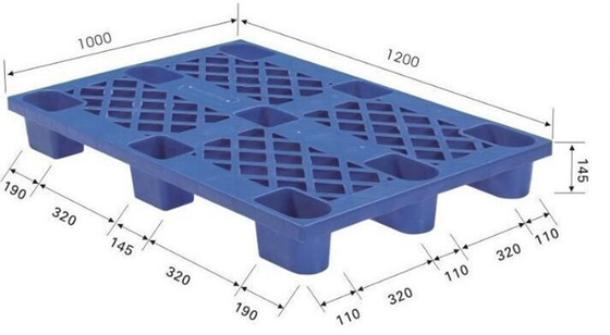 Waterproof Supermarket Accessories , 4 Way Light Duty Single Face Plastic Storage Pallet