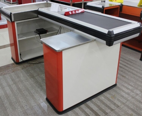 Steel Conveyor Belt Checkout Counter Supermarket Cashier Counter Table With Motor