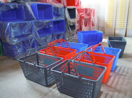 Plastic Handle Supermarket And Store Retail Shopping Basket Storage