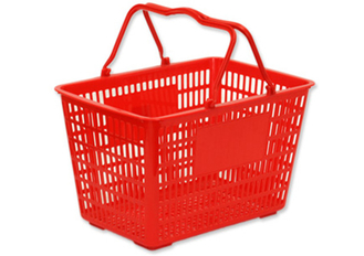 Rectangular Plastic Hand Shopping Basket Hollow - out Double Handle