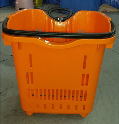 Supermarket Rolling Plastic Hand Basket / Rolling Trolley Basket With 2 Wheels