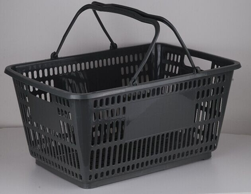 Plastic Hand Shopping Basket , Supermarket Storage Basket With 2 Handles