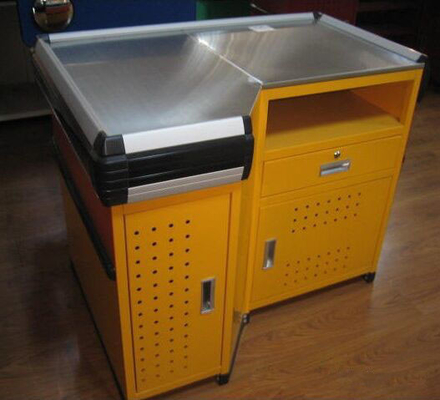 Design Shop Express Checkout Counter , Steel Cash Register Counter For Supermarket
