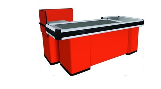 Automatic Conveyor Belt Checkout Counter , Stainless Steel Cash Register Counters