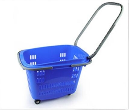 Plastic Shopping Baskets With Handles , Supermarket 4 Wheeled Shopping Trolley