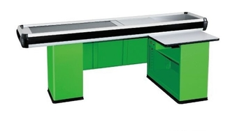 Convenience Shop Conveyor Belt Checkout Counter With Stainless Steel Material