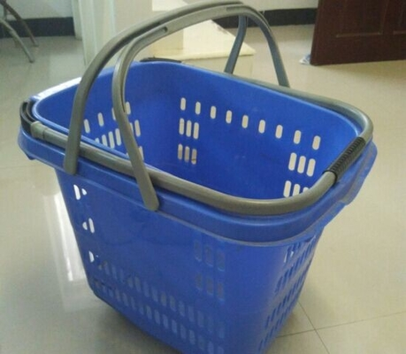 Retail Shopping Basket With Wheels / Folding Plastic Storage Wheeled Shopping Baskets