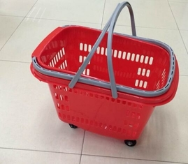 Waterproof Rolling Plastic Trolley Folding Shopping Basket With Wheels And Handle