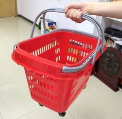 Red Rolling Plastic Shopping Trolley Basket / Portable Storage Basket With Wheels