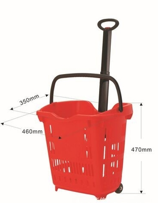 Plastic Grocery Wheel Shopping Basket  / Custom Color Rolling Laundry Basket 40 Litres