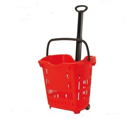 Shop Plastic Grip Handle Shopping Basket Trolley / Grocery Handy Basket With Wheels