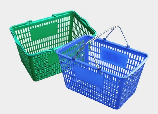 Recycle Plastic Hand Held Shopping Baskets , Durable Grocery Blue Storage Shopping Basket