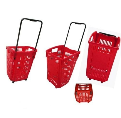 2 Wheels Plastic Rolling Shopping Basket For Supermarket Storage Used