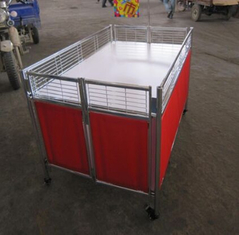 Movable Supermarket Accessories Promotion Table Stand With Wheels For Retail Store