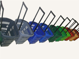 Multiple Plastic Rolling Trolley Shopping Basket With Wheels For Grocery / Supermarket
