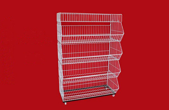 Collapsible Metal Wire Storage Baskets , Mobile Tiered Wire Basket Display Shelf