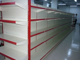 Store Supermarket Display Shelving / Metal Gondola Storage Shelf System