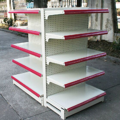 Shop Gondola Supermarket Display Shelving Pegboard Metal Steel Shelf Rack For Retail