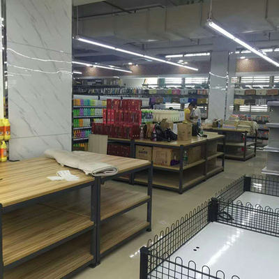 Foldable Wooden Display Rack / Supermarket Display Shelving With Metal Frame
