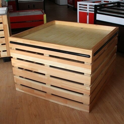 Supermarket Fruit And Vegetable Wooden Retail Display Shelves / Wooden Display Units