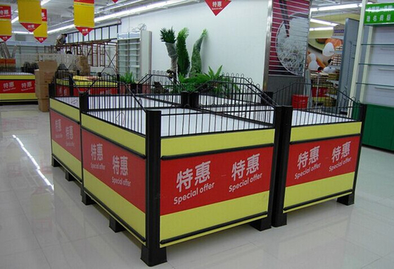Knockdown Metallic Supermarket Promotion  Display Table / Advertising Promotion Counter