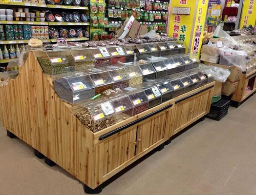 Multifuntion Food wooden retail display For Supermarket / Store 3 layers