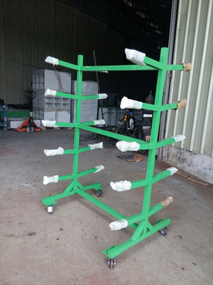 OEM Double sided Movable Supermarket Display Rack with 4 Wheels Storage Handcart