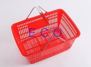 Double Handles Plastic Supermarket Hand Shopping Basket / Portable Handheld Basket