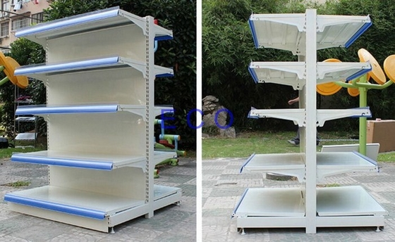 Double Sided Rustless Supermarket Store Display Shelves With Cold Rolled Steel Material