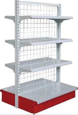 Double Gondola Supermarket Mesh Backboard Wire Shop Display Stands