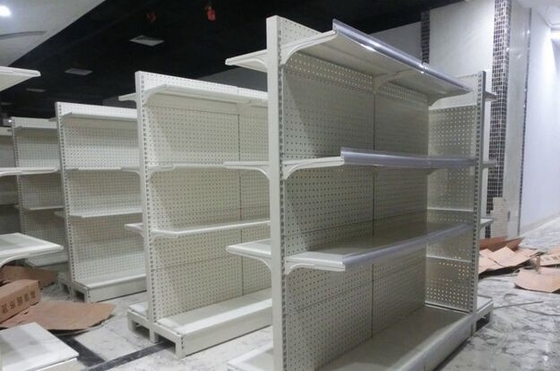 Metal Gondola Storage Supermarket Display Shelving System Corrosion Protection