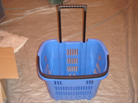 New Virgin HDPP Plastic Folding Storage Trolley Basket with Movable Wheels