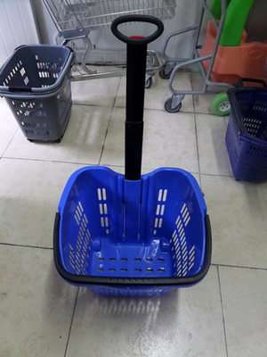 Pulling Plastic Telescope Handle Shopping Basket With Two Wheels