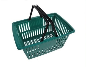 Used Plastic Supermarket Shopping Baskets With Double Handles In Green