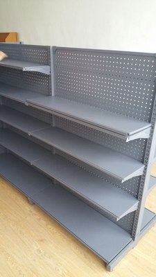 Gondola Shelf Supermarket Display Shelving With Punching Board Double / Single Sided