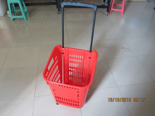 Castor Rolling Shopping Basket With Wheels , 4 Wheeled Plastic Shopping Baskets